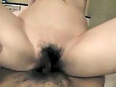 Asian Girl Getting Her Hairy Pussy Fucked Cum To Belly On The Bed In The Hotel
